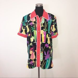 Bob Mackie Silk Vintage Tropical Drink Shirt Blous